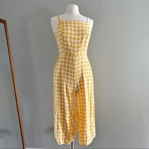 Old Navy Yellow Gingham Print Jump Suit | Size M